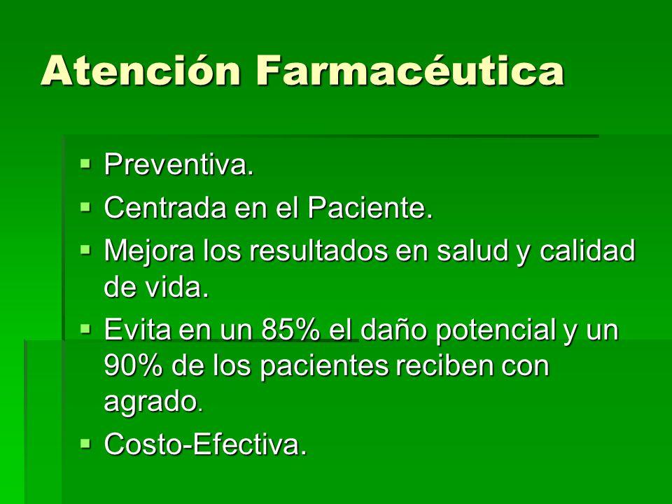 Atención Farmacéutica Preventiva. Preventiva. Centrada en el Paciente. Centrada en el Paciente. Mejora los resultados en salud y calidad de vida. Mejo