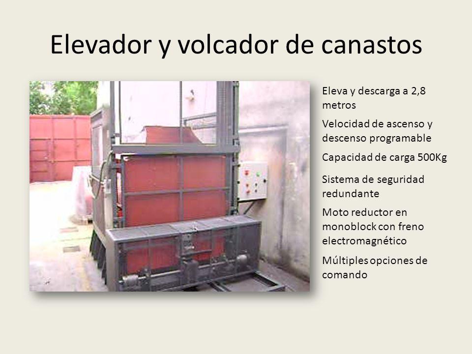 Elevador y volcador de canastos Eleva y descarga a 2,8 metros Velocidad de ascenso y descenso programable Capacidad de carga 500Kg Sistema de segurida