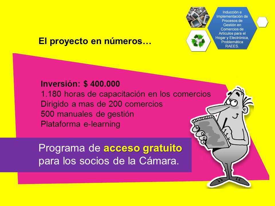 El proyecto en números… Inversión: $ 400.000 1.180 horas de capacitación en los comercios Dirigido a mas de 200 comercios 500 manuales de gestión Plataforma e-learning acceso gratuito Programa de acceso gratuito para los socios de la Cámara.