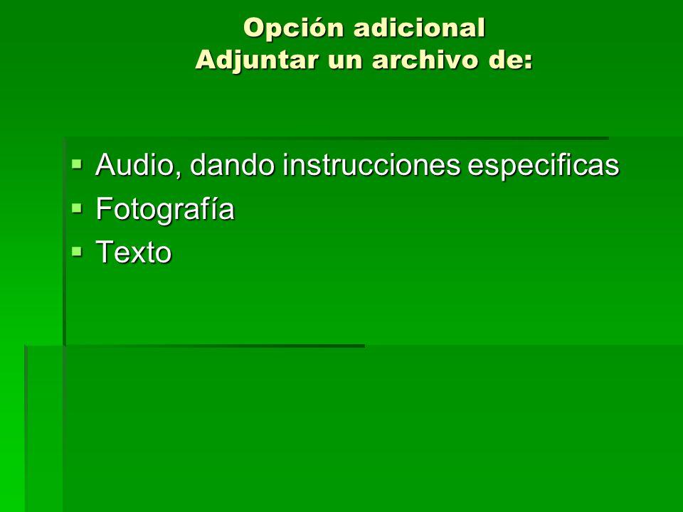 Opción adicional Adjuntar un archivo de: Audio, dando instrucciones especificas Audio, dando instrucciones especificas Fotografía Fotografía Texto Texto