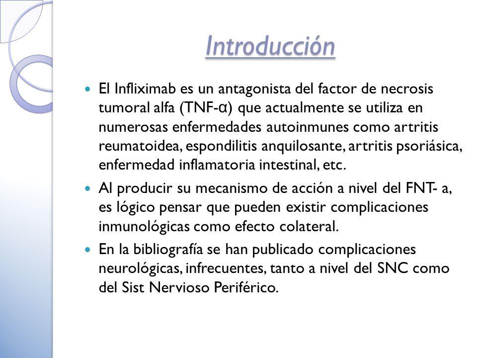 Introducción El Infliximab es un antagonista del factor de necrosis tumoral alfa (TNF- α ) que actualmente se utiliza en numerosas enfermedades autoinmunes como artritis reumatoidea, espondilitis anquilosante, artritis psoriásica, enfermedad inflamatoria intestinal, etc.