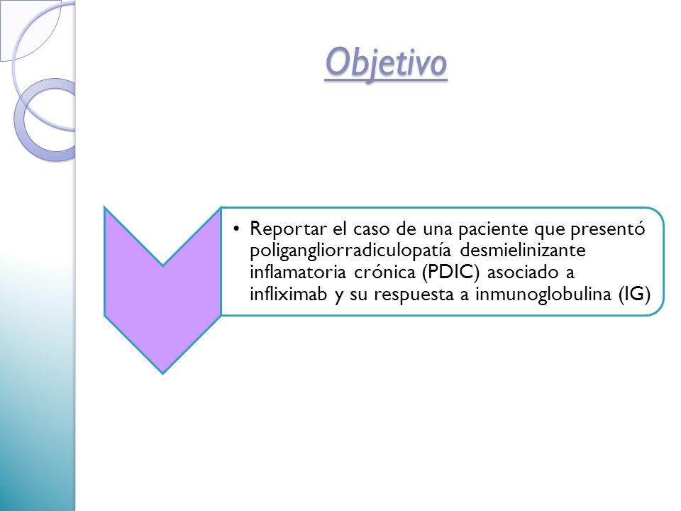 Reportar el caso de una paciente que presentó poligangliorradiculopatía desmielinizante inflamatoria crónica (PDIC) asociado a infliximab y su respuesta a inmunoglobulina (IG) Objetivo