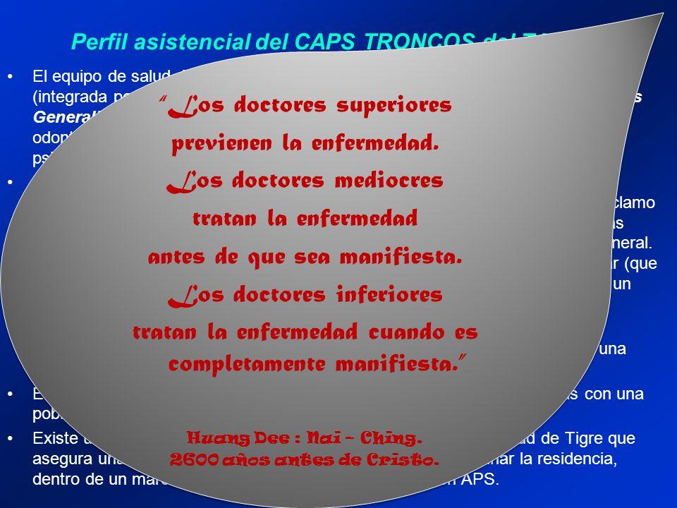 Perfil asistencial del CAPS TRONCOS del TALAR El equipo de salud del CAPS está conformado por una Gestión Compartida (integrada por dos médicos genera
