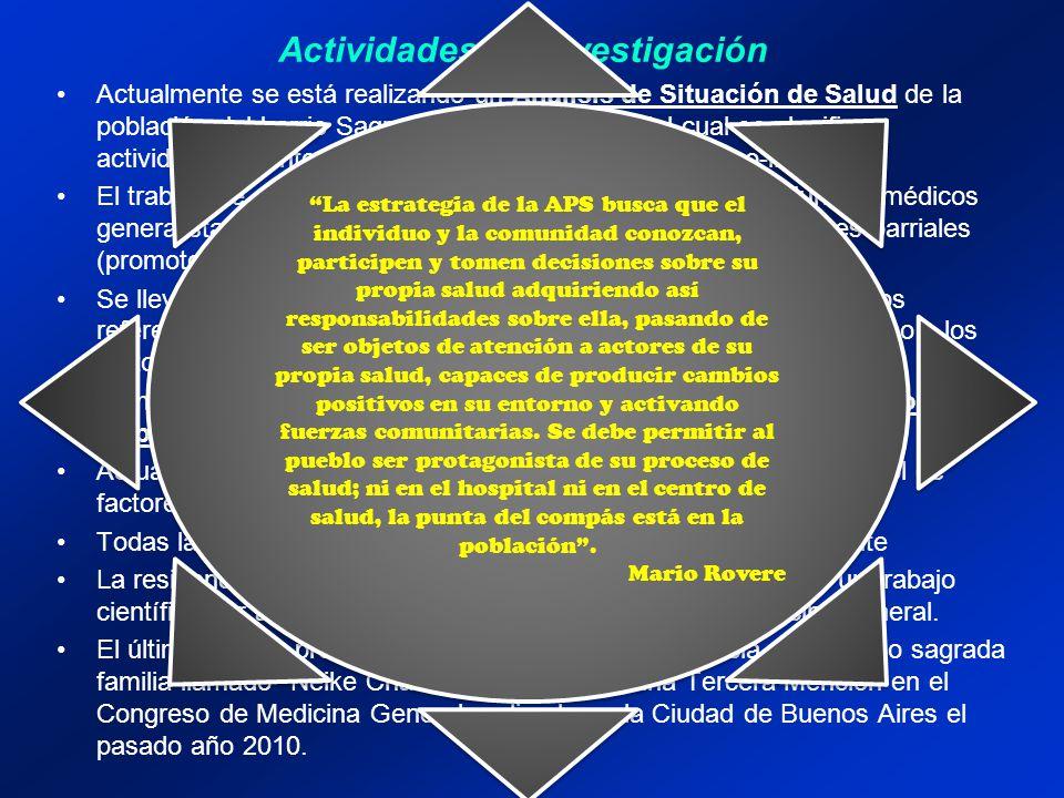 Actividades de Investigación Actualmente se está realizando un Análisis de Situación de Salud de la población del barrio Sagrada Familia a través del