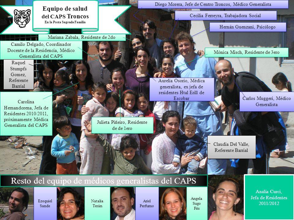 Equipo de salud del CAPS Troncos En la Posta Sagrada Familia Diego Morera, Jefe de Centro Troncos, Médico Generalista Cecilia Ferreyra, Trabajadora So