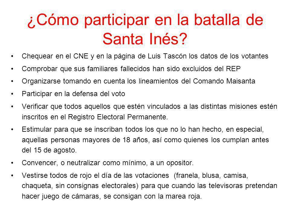 ¿Cómo participar en la batalla de Santa Inés? Chequear en el CNE y en la página de Luis Tascón los datos de los votantes Comprobar que sus familiares