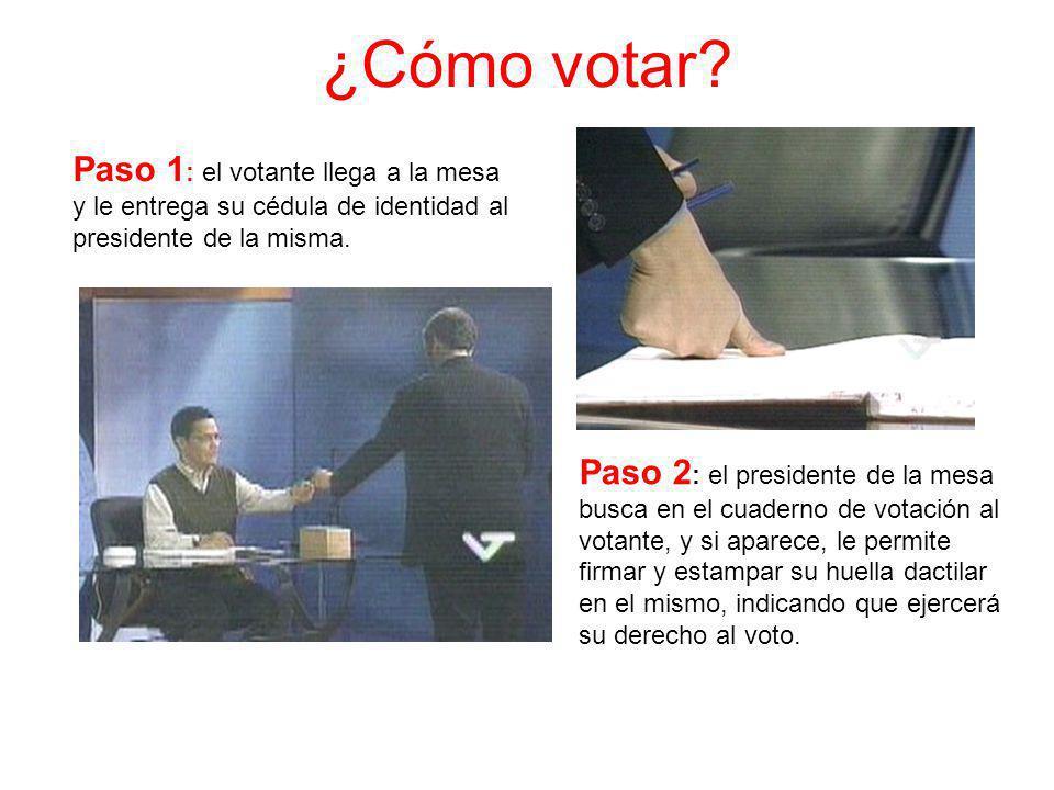 ¿Cómo votar? Paso 1 : el votante llega a la mesa y le entrega su cédula de identidad al presidente de la misma. Paso 2 : el presidente de la mesa busc