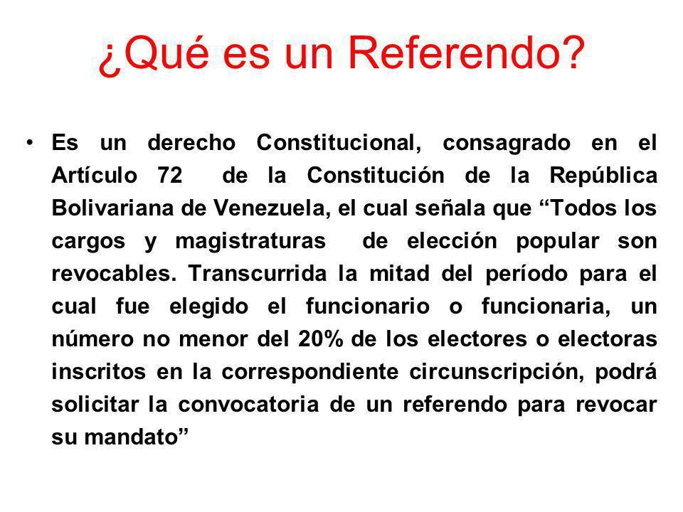 ¿Qué es un Referendo? Es un derecho Constitucional, consagrado en el Artículo 72 de la Constitución de la República Bolivariana de Venezuela, el cual