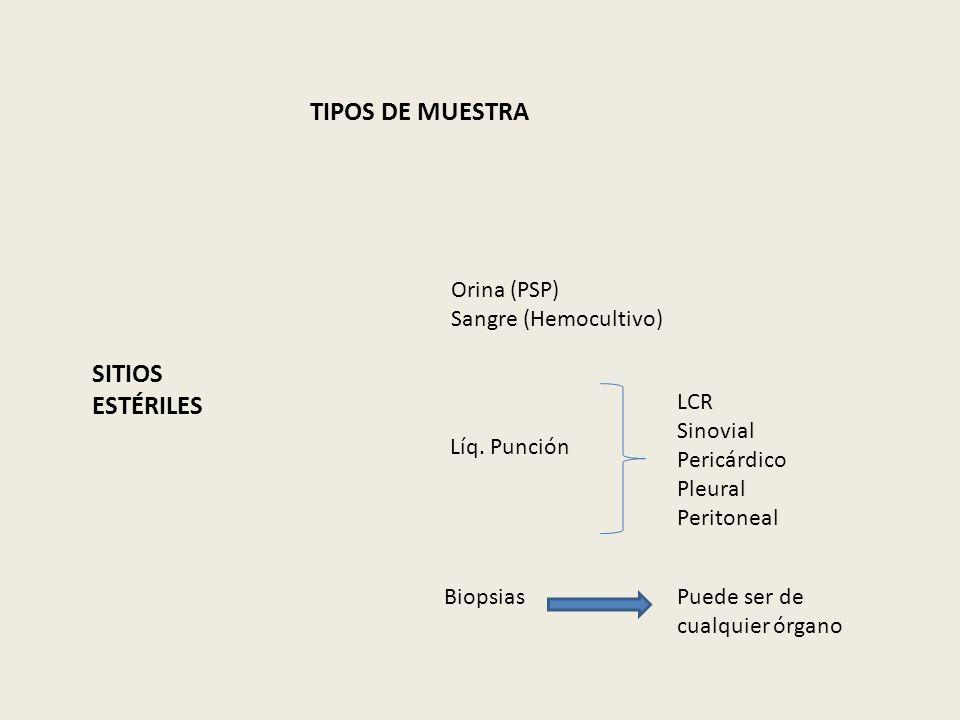 TIPOS DE MUESTRA SITIOS ESTÉRILES Orina (PSP) Sangre (Hemocultivo) Líq. Punción LCR Sinovial Pericárdico Pleural Peritoneal BiopsiasPuede ser de cualq