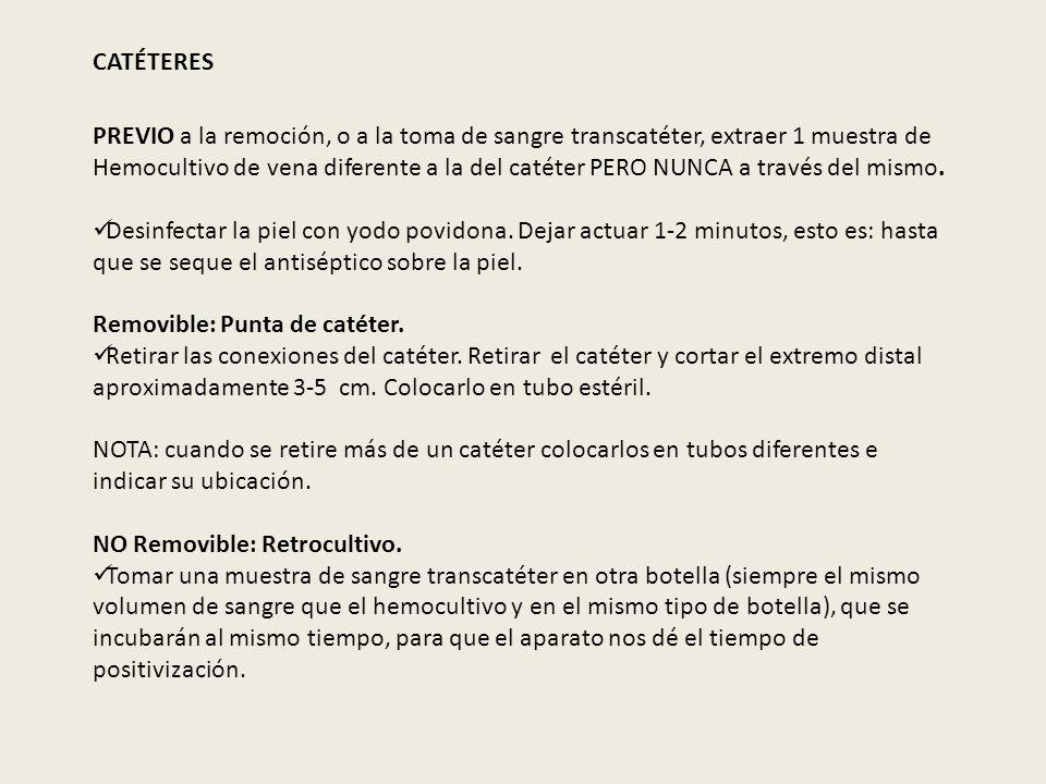 CATÉTERES PREVIO a la remoción, o a la toma de sangre transcatéter, extraer 1 muestra de Hemocultivo de vena diferente a la del catéter PERO NUNCA a t