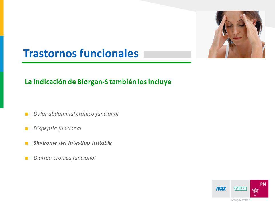 Dolor abdominal crónico funcional Dispepsia funcional Síndrome del Intestino Irritable Diarrea crónica funcional La indicación de Biorgan-S también lo