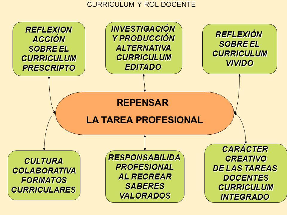 CURRICULUM Y ROL DOCENTE REPENSAR LA TAREA PROFESIONAL REFLEXIÓN SOBRE EL CURRICULUMVIVIDO RESPONSABILIDAPROFESIONAL AL RECREAR SABERESVALORADOS CARÁC