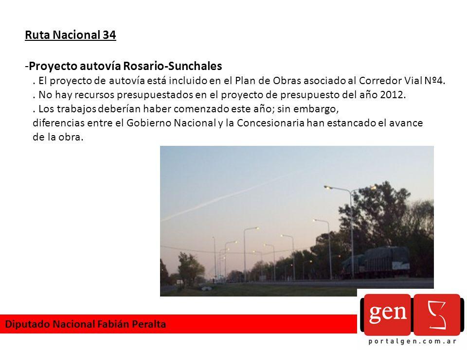 Ruta Nacional 34 -Proyecto autovía Rosario-Sunchales. El proyecto de autovía está incluido en el Plan de Obras asociado al Corredor Vial Nº4.. No hay