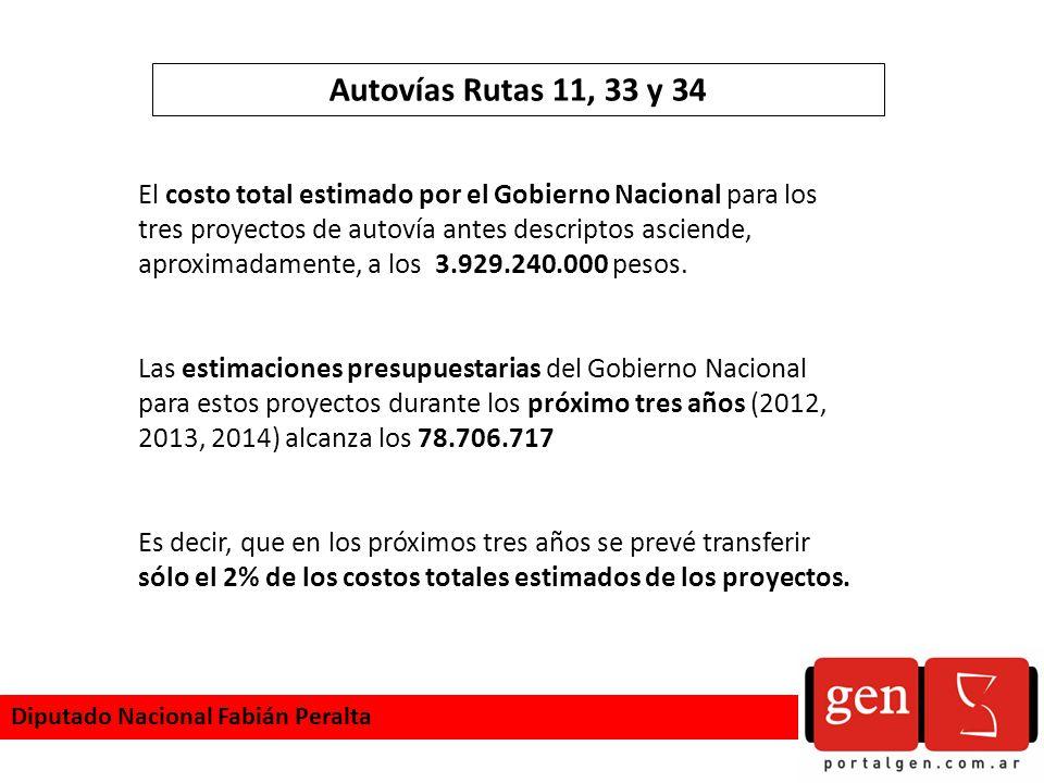 Autovías Rutas 11, 33 y 34 El costo total estimado por el Gobierno Nacional para los tres proyectos de autovía antes descriptos asciende, aproximadamente, a los 3.929.240.000 pesos.