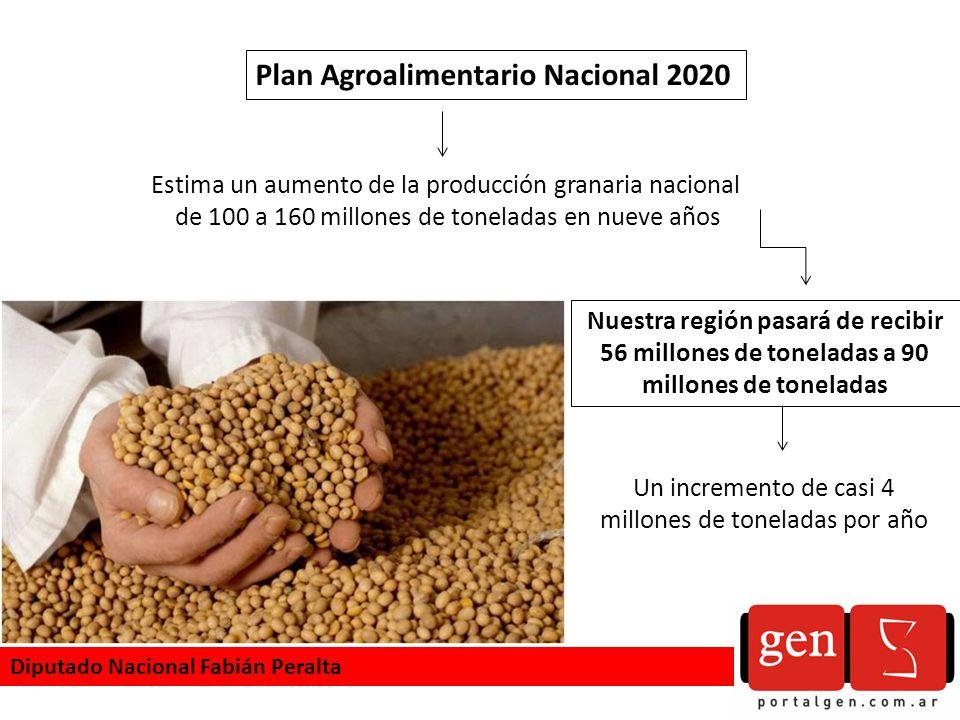 Plan Agroalimentario Nacional 2020 Estima un aumento de la producción granaria nacional de 100 a 160 millones de toneladas en nueve años Nuestra región pasará de recibir 56 millones de toneladas a 90 millones de toneladas Un incremento de casi 4 millones de toneladas por año Diputado Nacional Fabián Peralta