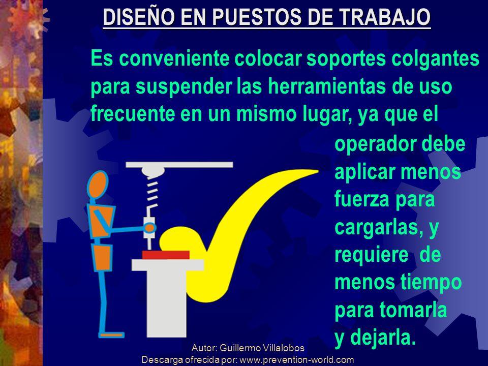 Autor: Guillermo Villalobos Descarga ofrecida por: www.prevention-world.com DISEÑO EN PUESTOS DE TRABAJO Es conveniente colocar soportes colgantes par