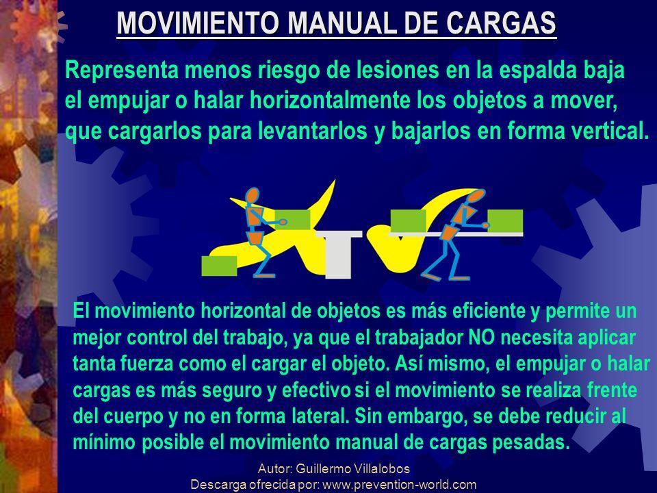 Autor: Guillermo Villalobos Descarga ofrecida por: www.prevention-world.com MOVIMIENTO MANUAL DE CARGAS Representa menos riesgo de lesiones en la espa