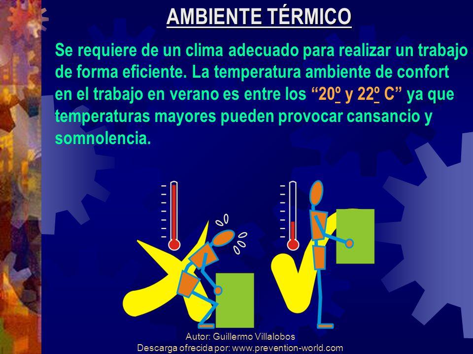 Autor: Guillermo Villalobos Descarga ofrecida por: www.prevention-world.com AMBIENTE TÉRMICO Se requiere de un clima adecuado para realizar un trabajo