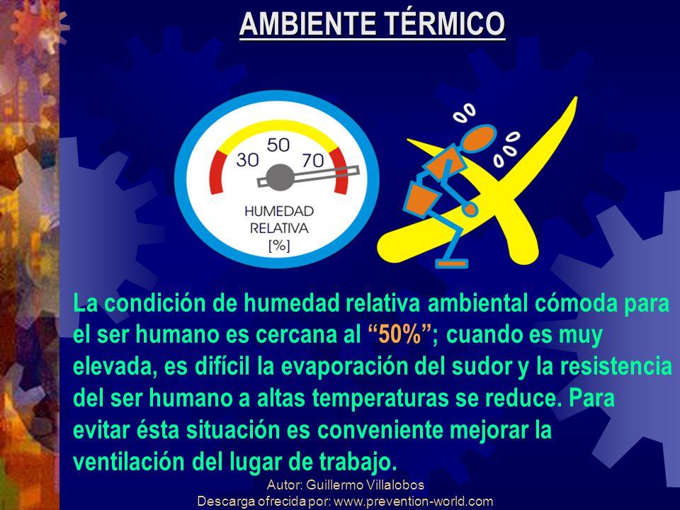 Autor: Guillermo Villalobos Descarga ofrecida por: www.prevention-world.com AMBIENTE TÉRMICO La condición de humedad relativa ambiental cómoda para el