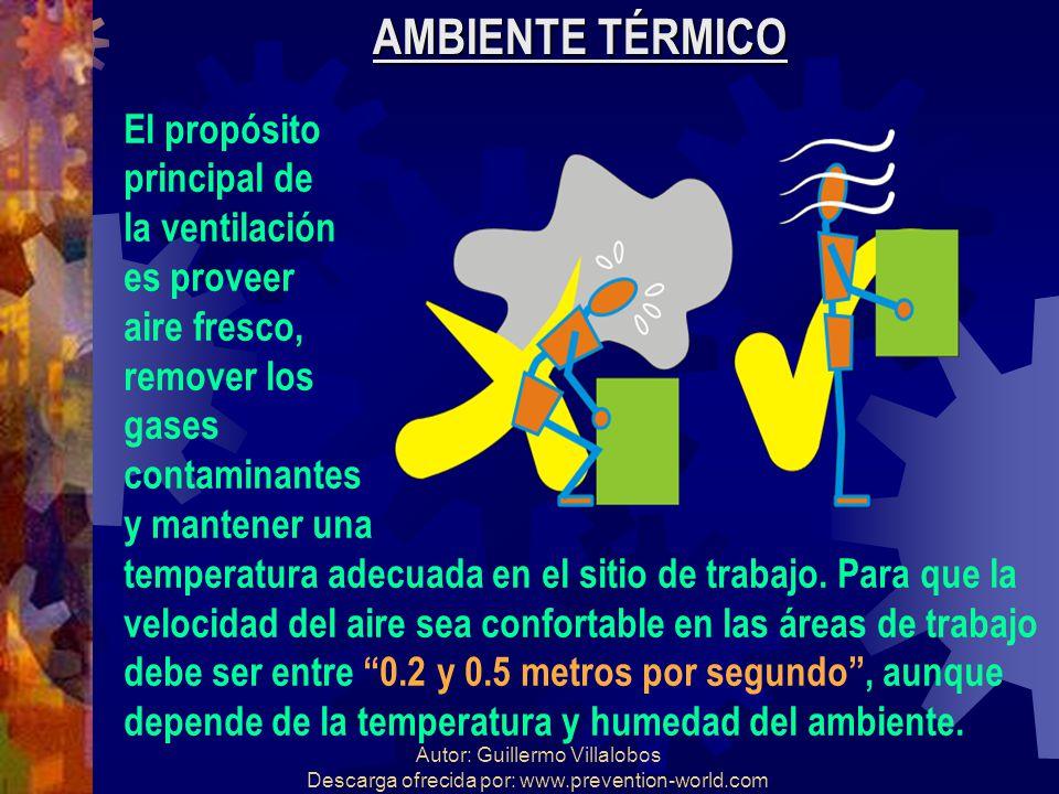 Autor: Guillermo Villalobos Descarga ofrecida por: www.prevention-world.com AMBIENTE TÉRMICO El propósito principal de la ventilación es proveer aire