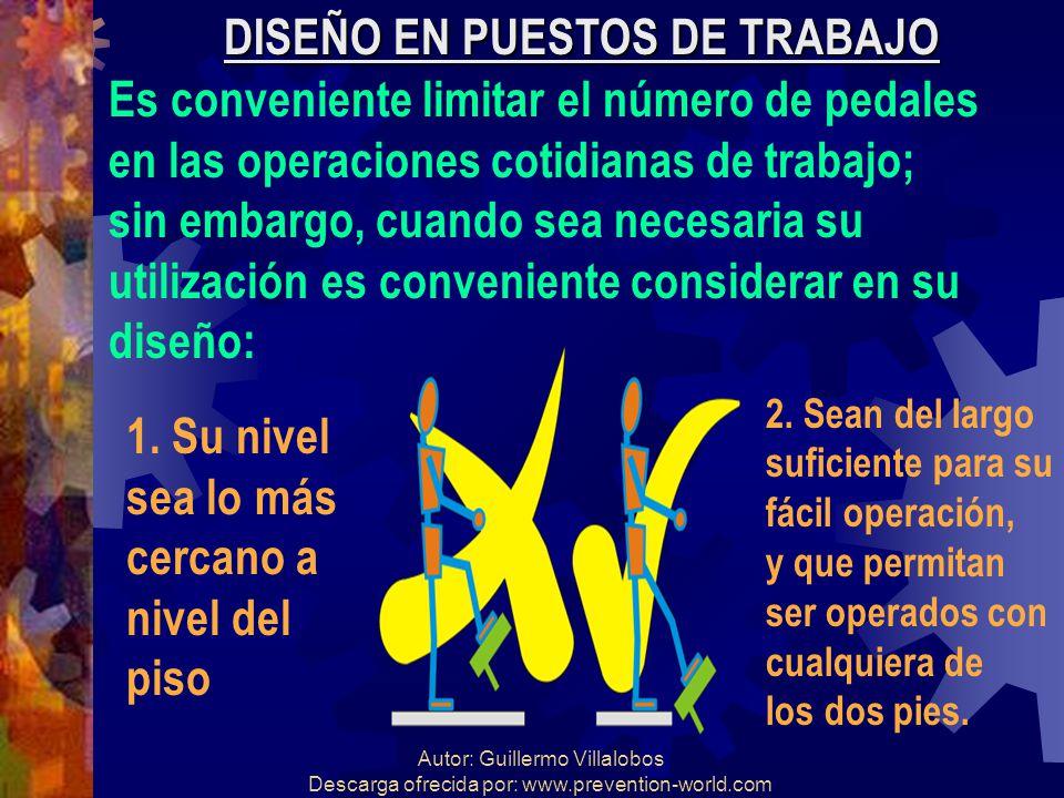 Autor: Guillermo Villalobos Descarga ofrecida por: www.prevention-world.com DISEÑO EN PUESTOS DE TRABAJO Es conveniente limitar el número de pedales e