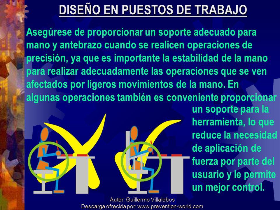 Autor: Guillermo Villalobos Descarga ofrecida por: www.prevention-world.com DISEÑO EN PUESTOS DE TRABAJO Asegúrese de proporcionar un soporte adecuado