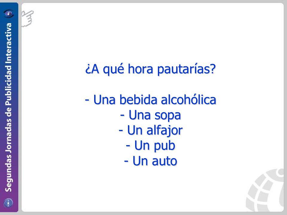 ¿A qué hora pautarías? - Una bebida alcohólica - Una sopa - Un alfajor - Un pub - Un auto