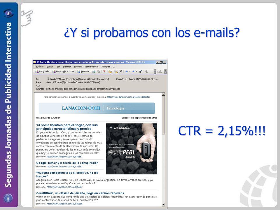 ¿Y si probamos con los e-mails? CTR = 2,15%!!!