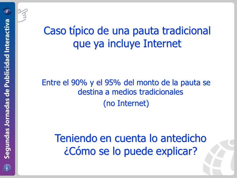Caso típico de una pauta tradicional que ya incluye Internet Entre el 90% y el 95% del monto de la pauta se destina a medios tradicionales (no Internet) Teniendo en cuenta lo antedicho ¿Cómo se lo puede explicar