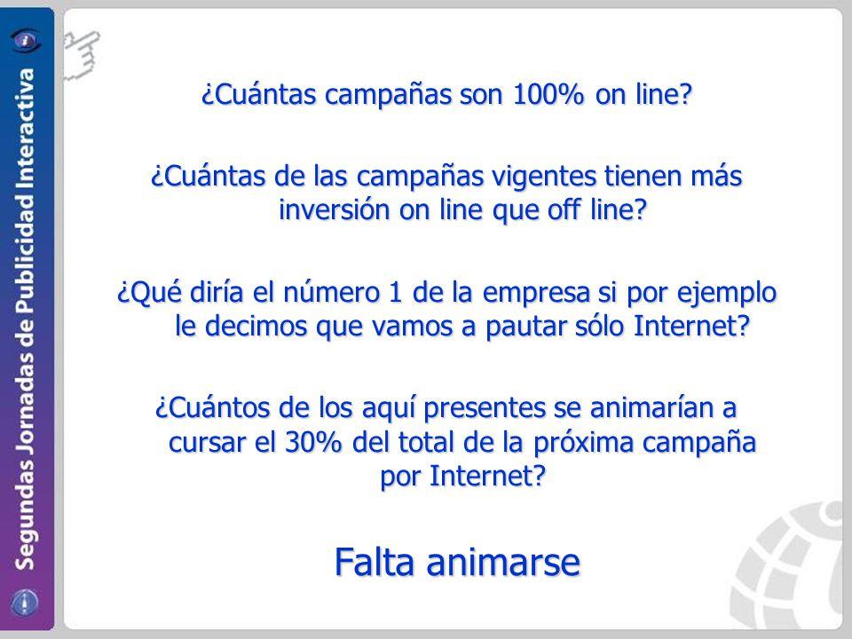 ¿Cuántas campañas son 100% on line? ¿Cuántas de las campañas vigentes tienen más inversión on line que off line? ¿Qué diría el número 1 de la empresa