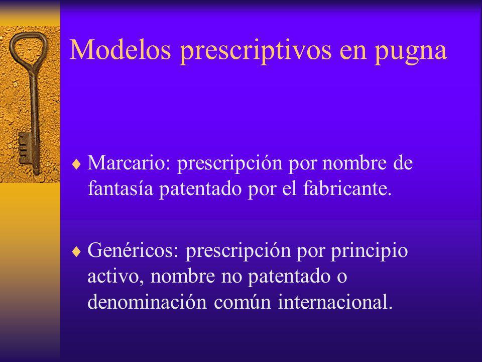 Marcario: prescripción por nombre de fantasía patentado por el fabricante. Genéricos: prescripción por principio activo, nombre no patentado o denomin