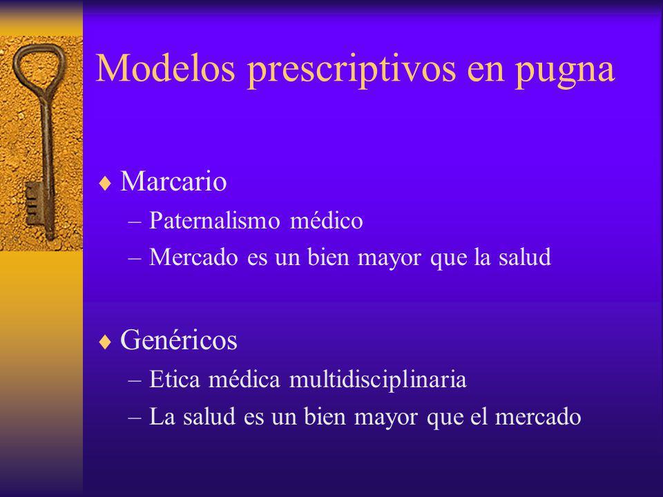 Marcario –Paternalismo médico –Mercado es un bien mayor que la salud Genéricos –Etica médica multidisciplinaria –La salud es un bien mayor que el merc