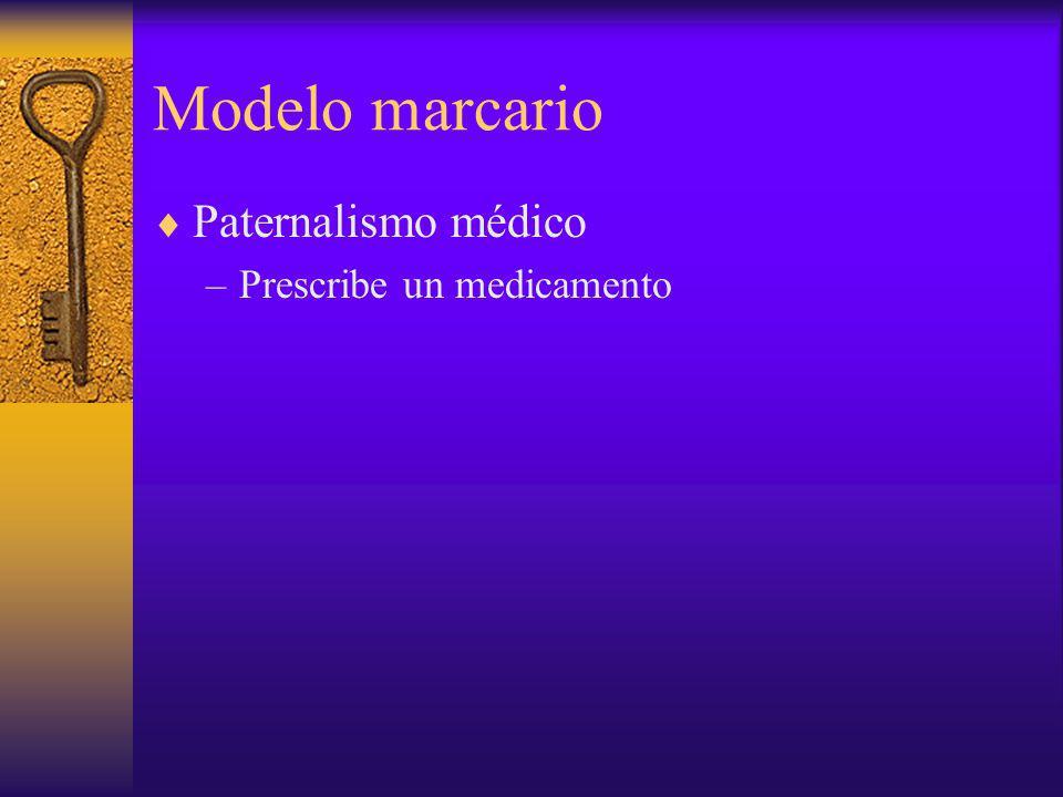 Modelo marcario Paternalismo médico –Prescribe un medicamento