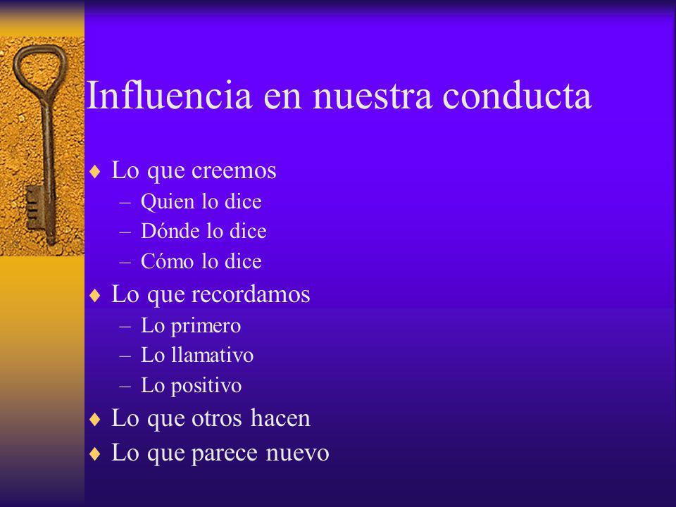 Influencia en nuestra conducta Lo que creemos –Quien lo dice –Dónde lo dice –Cómo lo dice Lo que recordamos –Lo primero –Lo llamativo –Lo positivo Lo