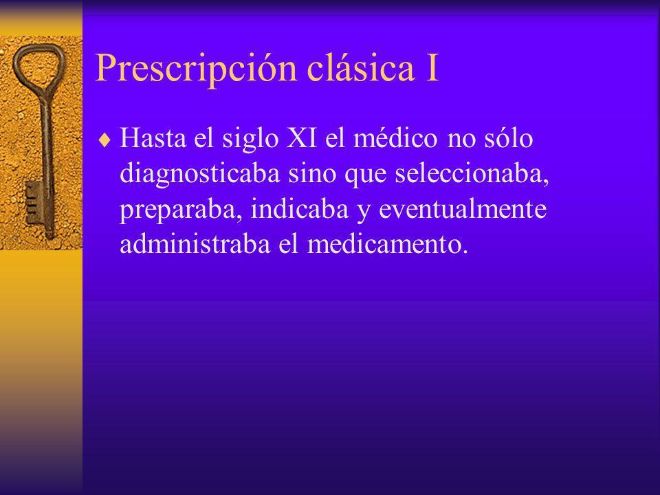 Prescripción clásica I Hasta el siglo XI el médico no sólo diagnosticaba sino que seleccionaba, preparaba, indicaba y eventualmente administraba el me