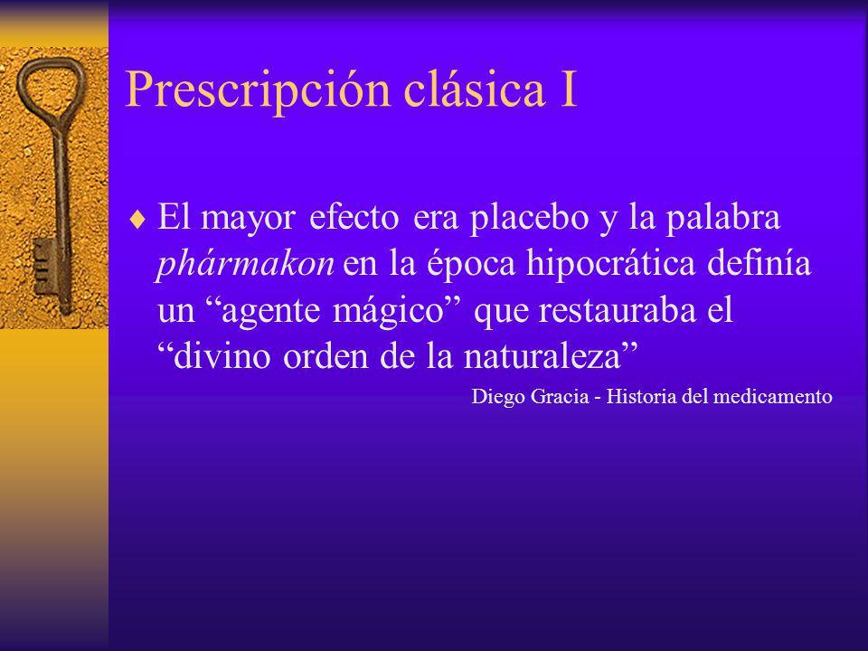 Prescripción clásica I El mayor efecto era placebo y la palabra phármakon en la época hipocrática definía un agente mágico que restauraba el divino or
