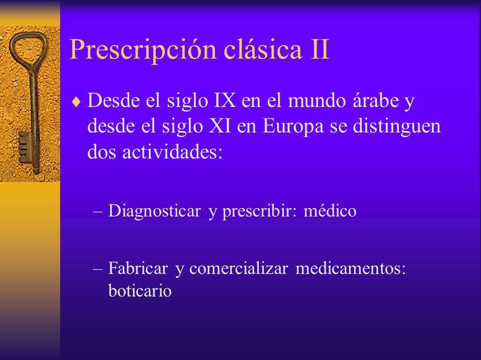 Prescripción clásica II Desde el siglo IX en el mundo árabe y desde el siglo XI en Europa se distinguen dos actividades: –Diagnosticar y prescribir: m