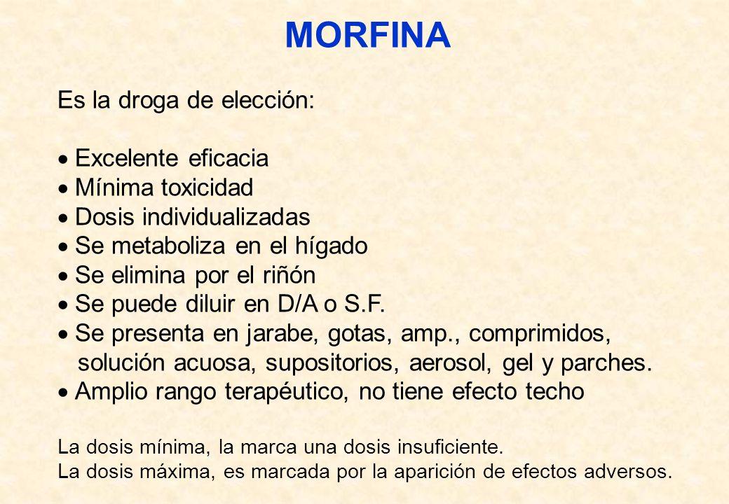 MORFINA Es la droga de elección: Excelente eficacia Mínima toxicidad Dosis individualizadas Se metaboliza en el hígado Se elimina por el riñón Se pued