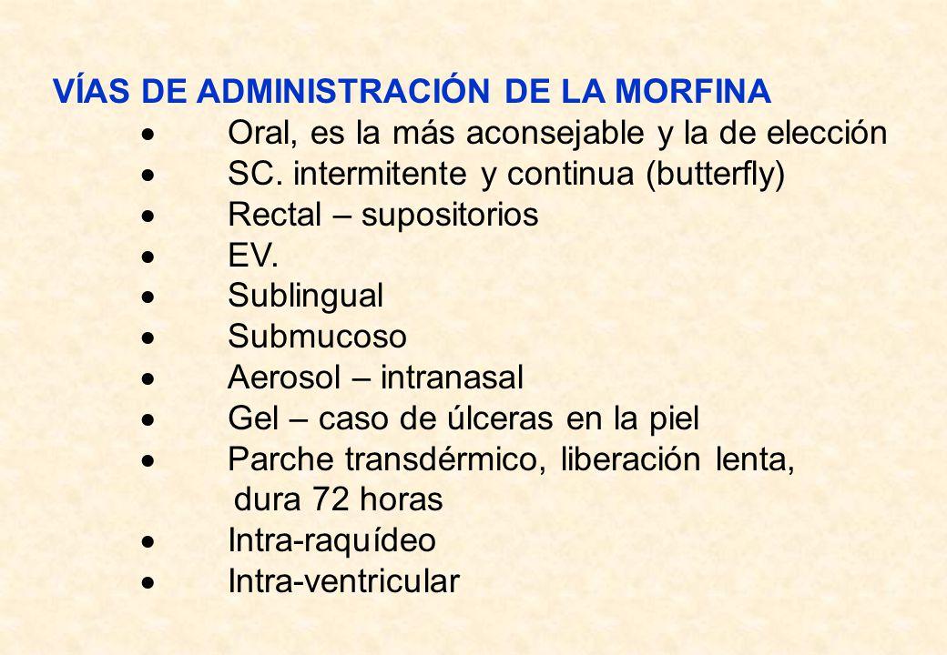 VÍAS DE ADMINISTRACIÓN DE LA MORFINA Oral, es la más aconsejable y la de elección SC. intermitente y continua (butterfly) Rectal – supositorios EV. Su