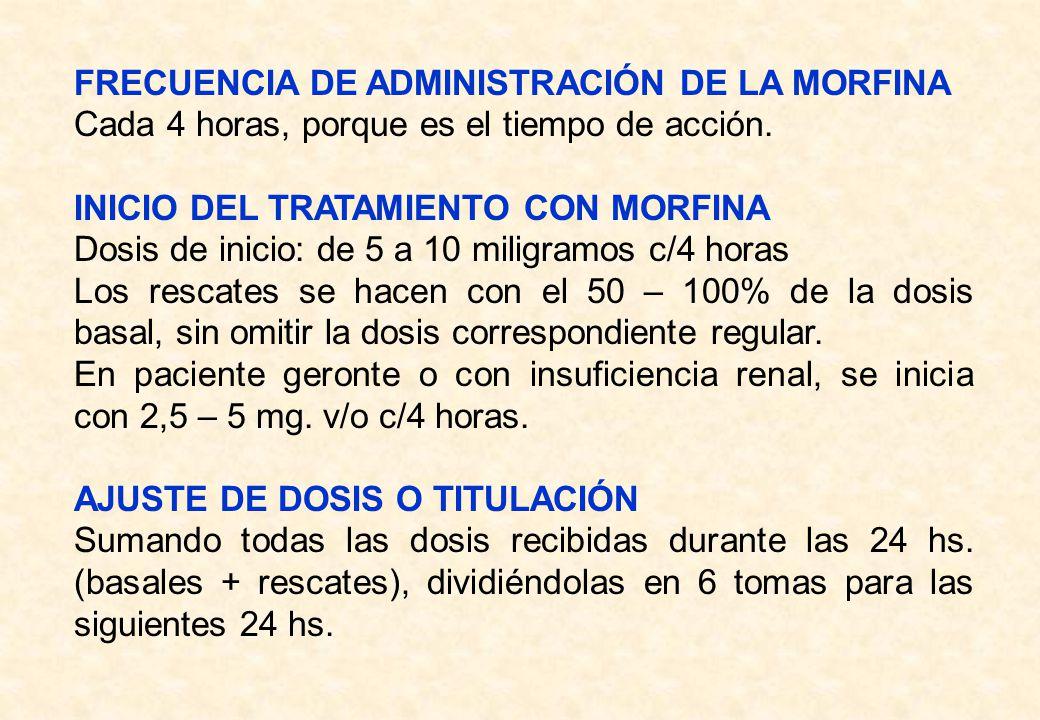 FRECUENCIA DE ADMINISTRACIÓN DE LA MORFINA Cada 4 horas, porque es el tiempo de acción. INICIO DEL TRATAMIENTO CON MORFINA Dosis de inicio: de 5 a 10