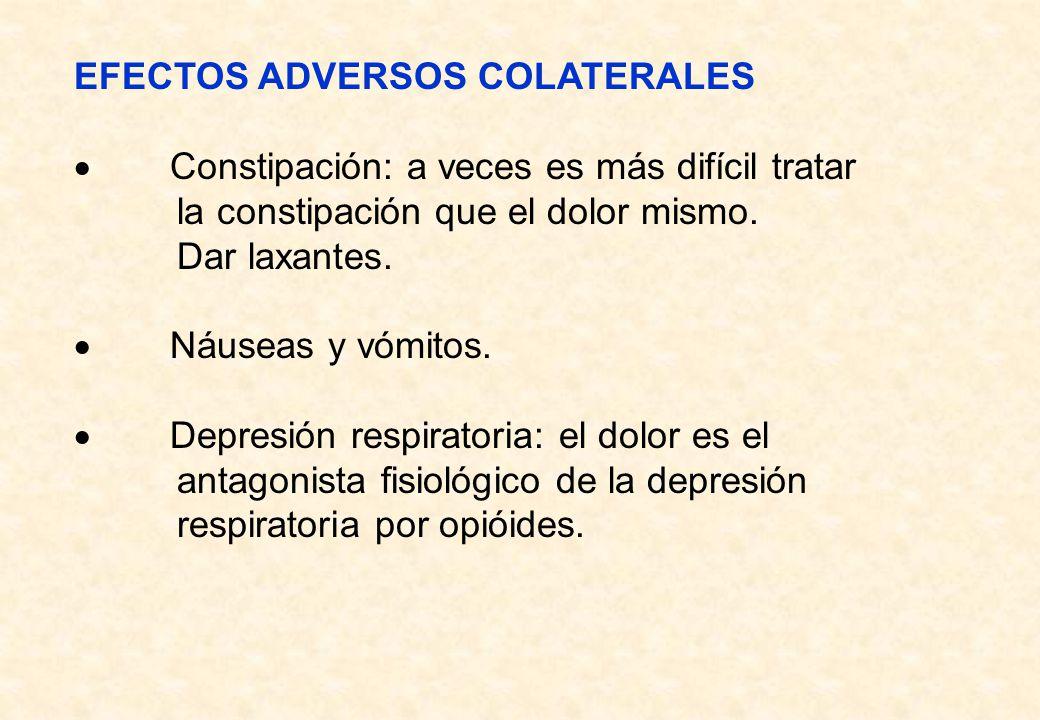 EFECTOS ADVERSOS COLATERALES Constipación: a veces es más difícil tratar la constipación que el dolor mismo. Dar laxantes. Náuseas y vómitos. Depresió