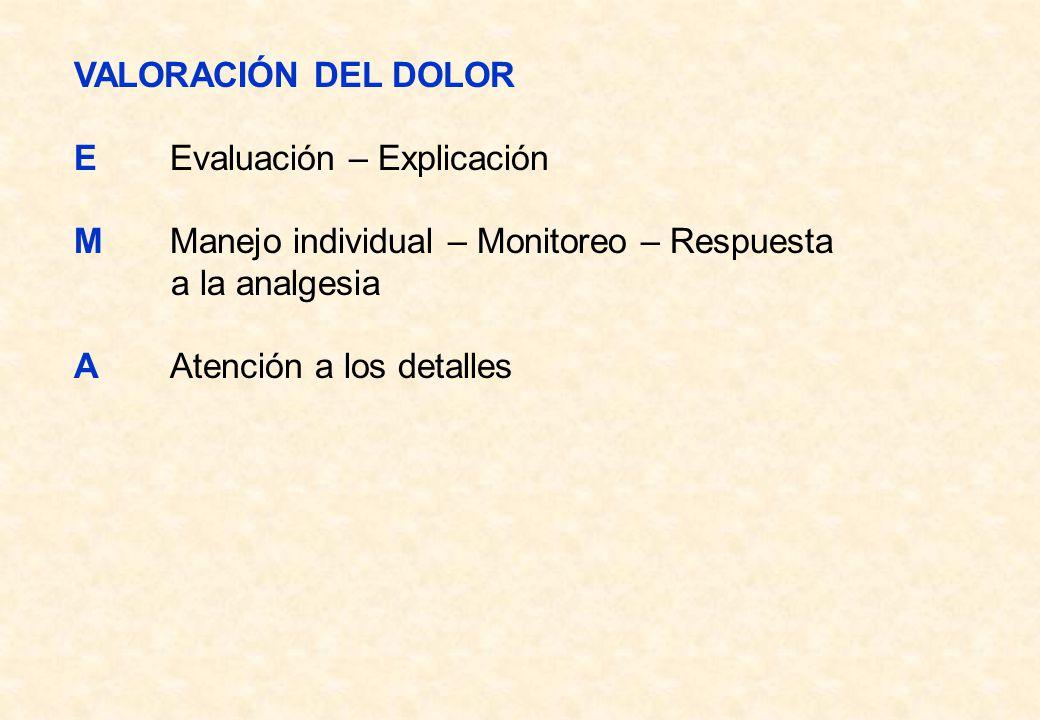 VALORACIÓN DEL DOLOR EEvaluación – Explicación MManejo individual – Monitoreo – Respuesta a la analgesia AAtención a los detalles
