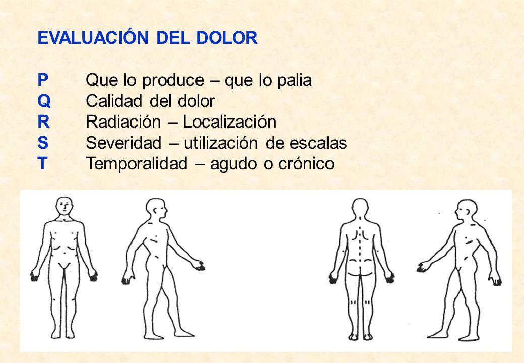 EVALUACIÓN DEL DOLOR PQue lo produce – que lo palia QCalidad del dolor RRadiación – Localización SSeveridad – utilización de escalas TTemporalidad – a