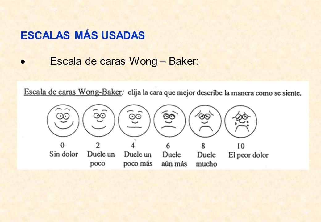 ESCALAS MÁS USADAS Escala de caras Wong – Baker: