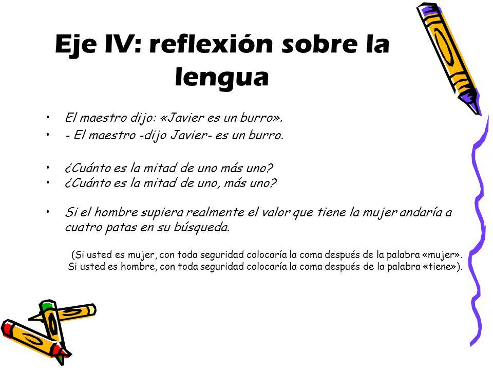 Eje IV: reflexión sobre la lengua El maestro dijo: «Javier es un burro».