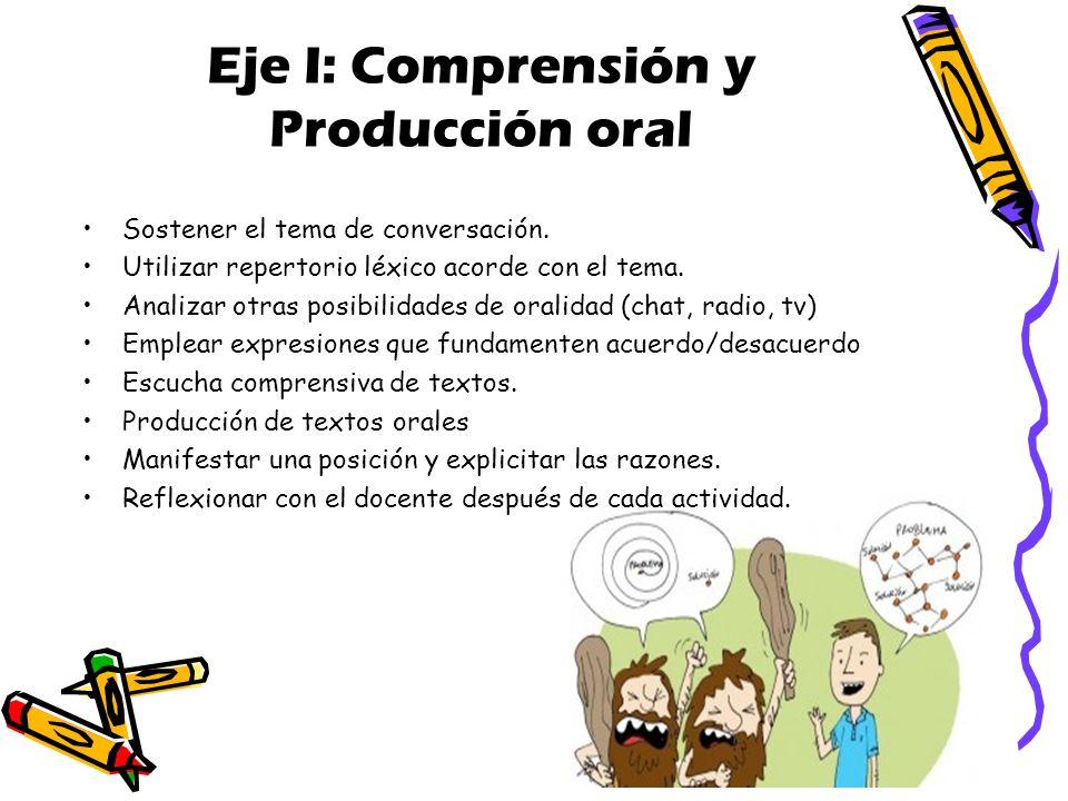 Eje I: Comprensión y Producción oral Sostener el tema de conversación.