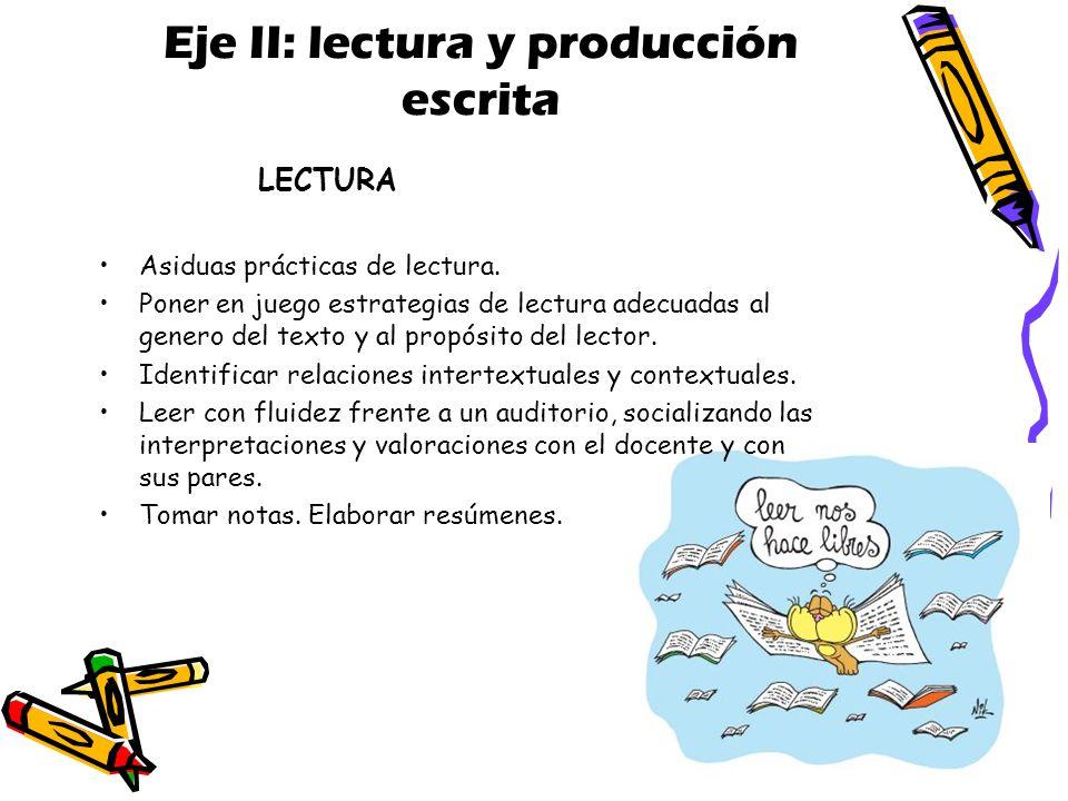 Eje II: lectura y producción escrita Asiduas prácticas de lectura.