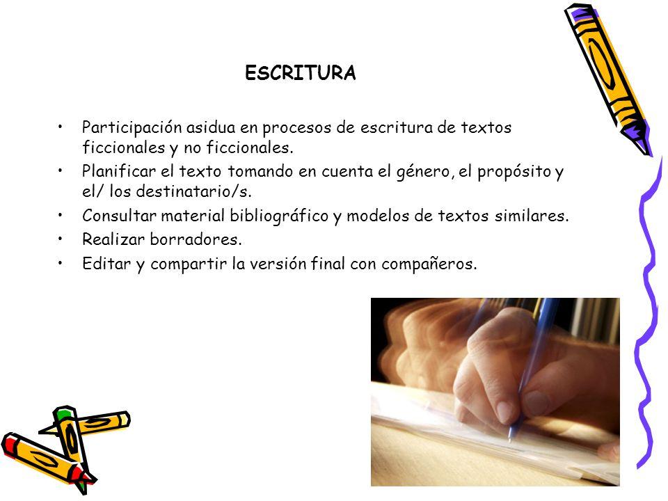 ESCRITURA Participación asidua en procesos de escritura de textos ficcionales y no ficcionales.