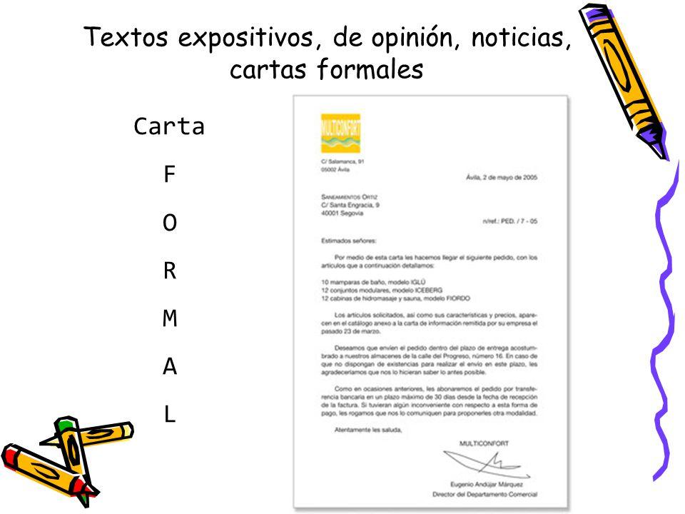 Textos expositivos, de opinión, noticias, cartas formales Carta F O R M A L
