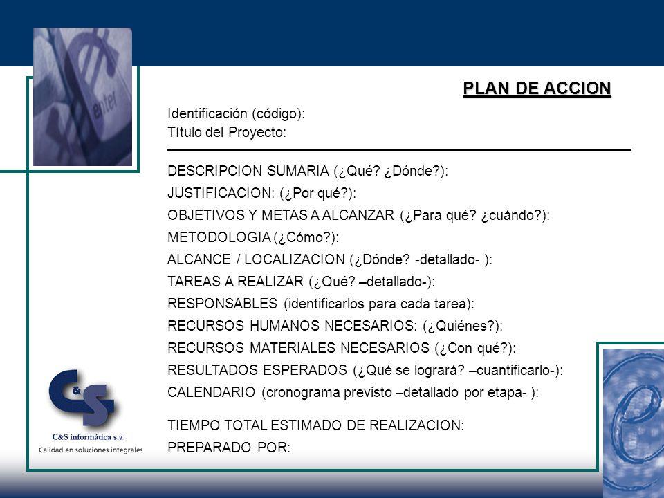 PLAN DE ACCION Identificación (código): Título del Proyecto: DESCRIPCION SUMARIA (¿Qué.